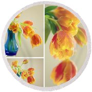 Tulips Collage Round Beach Towel