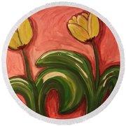 Dancing Tulips Round Beach Towel