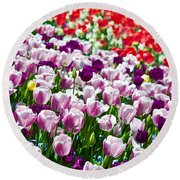 Tulips Field Round Beach Towel