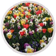 Tulips - Field With Love 57 Round Beach Towel