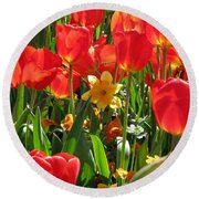 Tulips - Field With Love 71 Round Beach Towel