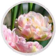 Tulips Flowers Garden Art Prints Pink Tulip Floral Round Beach Towel