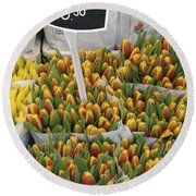 Tulips For Sale In Market, Close Up Round Beach Towel