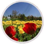 Tulips Galore  Round Beach Towel