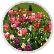 Tulips Garden Art Prints Colorful Spring Floral Round Beach Towel