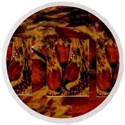 Tulips In Acryl Collage Round Beach Towel