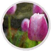 Tulips In Digital Watercolor Round Beach Towel