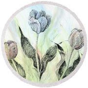 Tulips In Ink Round Beach Towel