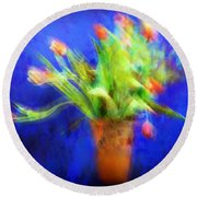 Tulips In The Blue Round Beach Towel
