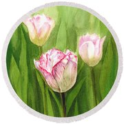 Tulips In The Fog Round Beach Towel