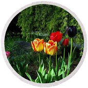 Tulips In The Spring Round Beach Towel