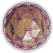 Tulips Kaleidoscope Under Polyhedron Glass Round Beach Towel