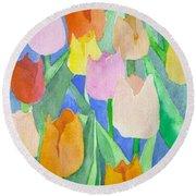 Tulips Multicolor Round Beach Towel