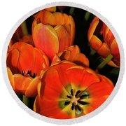 Tulips Of Fire Round Beach Towel