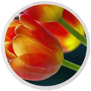 Tulips On Black 2a Round Beach Towel