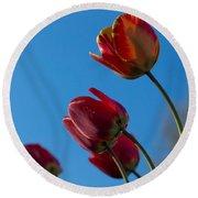 Tulips On Blue Round Beach Towel