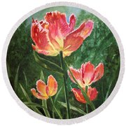 Tulips On Fire Round Beach Towel