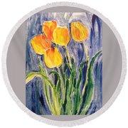 Tulips Round Beach Towel by Sherry Harradence