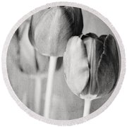 Tulips Still Life In Black And White Round Beach Towel