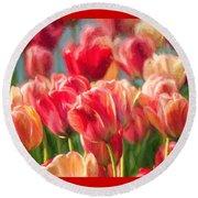 Tulips Round Beach Towel