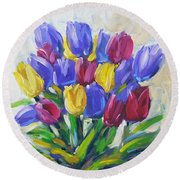 Tulips Time Love The Spring By Prankearts Round Beach Towel