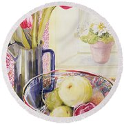 Tulips With Fruit In A Glass Bowl  Round Beach Towel by Joan Thewsey