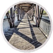 Tulsa Pedestrian Bridge Round Beach Towel