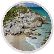 Tulum - Mayan Temple Round Beach Towel