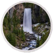 Tumalo Falls - Oregon Round Beach Towel