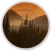 Tumtum Peak At Sunset Round Beach Towel