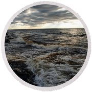 Tumultious Waters Round Beach Towel