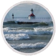 Tumultuous Lake Round Beach Towel