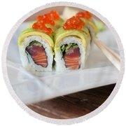 Tuna Sushi With Caviar  Round Beach Towel