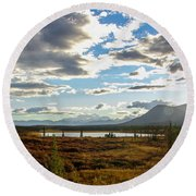 Tundra Burst Round Beach Towel by Chad Dutson