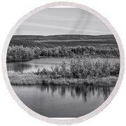 Tundra Pond Reflections Round Beach Towel