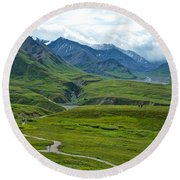 Tundra View From Eielson Visitor's Center In Denali Np-ak  Round Beach Towel