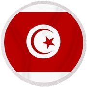 Tunisia Flag Round Beach Towel