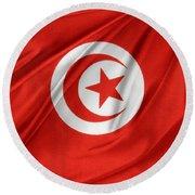 Tunisia Flag Round Beach Towel