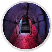 Tunnel And Stairs Bathed In Blue And Red Light Round Beach Towel
