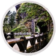Tunnel In The Mountain Round Beach Towel