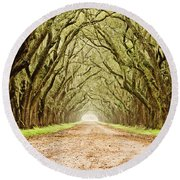 Tunnel In The Trees Round Beach Towel