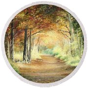 Tunnel In Wood Round Beach Towel
