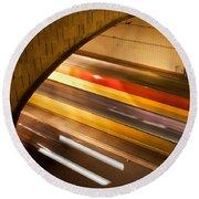 Tunnel Light Trails Round Beach Towel