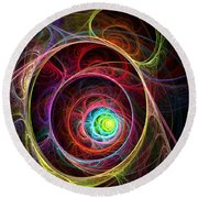 Tunnel Of Lights Round Beach Towel