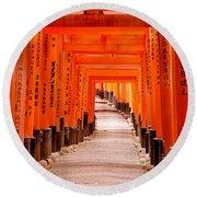 Tunnel Of Torii Gates, Fushimi Inari Round Beach Towel