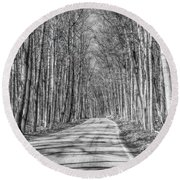 Tunnel Of Trees Black And White Round Beach Towel