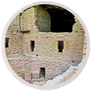 Tunnel Opening In Kiva Of Spruce Tree House On Chapin Mesa In Mesa Verde National Park-colorado  Round Beach Towel