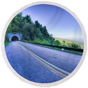 Tunnel Through Mountains On Blue Ridge Parkway In The Morning Round Beach Towel