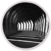 Tunnel With Shadows Round Beach Towel