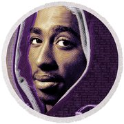Tupac Shakur And Lyrics Round Beach Towel by Tony Rubino